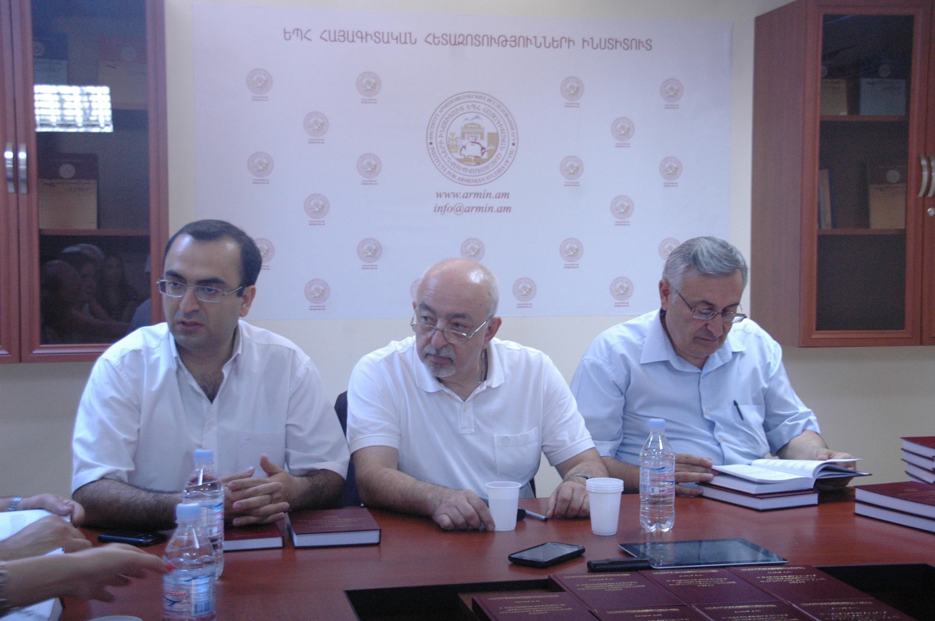 Ձախից աջ. Մհեր Հովհաննիսյան, Սերգեյ Սայադով, Էդիկ Մինասյան